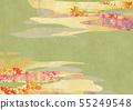 日式背景材料 - 日本紙紋理色葉子 - 雲 - 金葉地面棕色 55249548