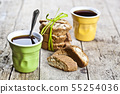 Two cups of coffee and fresh Italian cookies 55254036