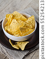 Mexican nachos chips in white bowl on brown 55254213