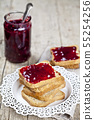 Toasted cereal bread slices on white plate and jar 55254256