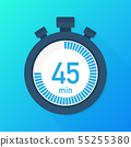 The 45 minutes, stopwatch vector icon. Stopwatch 55255380