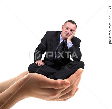 man held in the hands 55255719