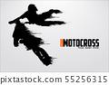 Motocross drivers silhouette. Vector illustration 55256315