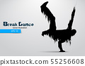 Silhouette of a break dancer. Vector illustration 55256608