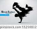 Silhouette of a break dancer. Vector illustration 55256612
