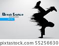 Silhouette of a break dancer. Vector illustration 55256630