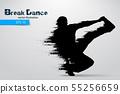 Silhouette of a break dancer. Vector illustration 55256659