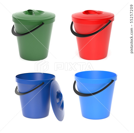 Plastic buckets with lid. 3d rendering illustration isolated 55257209