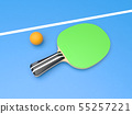 Green table tennis racket with ball. On blue background 55257221