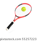 Tennis racket with yellow tennis ball 55257223