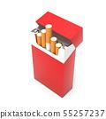 Red open pack of cigarettes. 3d rendering illustration 55257237
