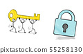三個人拿著鑰匙和一把鎖 55258130