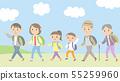 初夏假期_父母和孩子3代背景 55259960