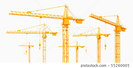 Construction cranes isolated on white background 55260005