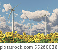 Wind turbines in a field of sunflowers 55260038