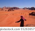 요르단 와디 럼 사막을 내려다보고 55263657