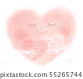 Cute heart watercolor parent and child 55265744