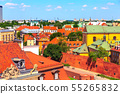 Warsaw, capital of Poland houses aerial view 55265832