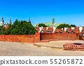 Warsaw, Poland wall of Barbakan and cityscape 55265872