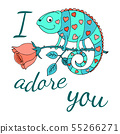 A colorful chameleon with hearts on the skin sits 55266271