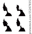 Set of black vector woman head silhouettes with 55267835