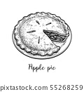 Ink sketch of apple pie 55268259