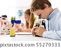 Boy looking at microscope with robot nearby 55270333