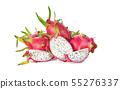 Dragon fruit isolated on white background 55276337