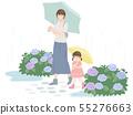 Rainy day parent and child and hydrangea 55276663