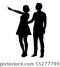 Vector silhouette of boy and girl standing 55277799
