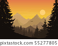 Vector illustration of mountain landscape with 55277805