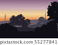 Vector illustration of a landscape with trees and 55277841