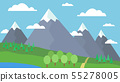 Mountain cartoon landscape with green hills and 55278005