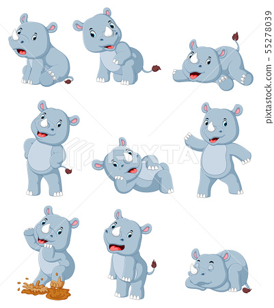 Collection of happy rhino with various posing 55278039