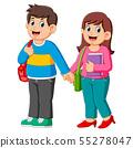 Happy boy and girl go to school 55278047