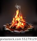 Burning Wood Campfire 55279129
