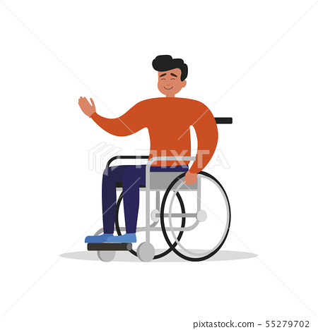 Wheelchair guy isolated. Man with disability 55279702