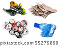 Waste to be recycled in white background 55279899
