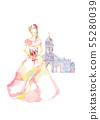 粉紅色的裙子和教堂 55280039