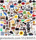 Collection of objects in chaos in white background 55280055