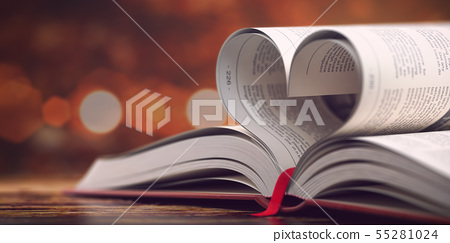 Book with opened pages in form of heart. Reading, 55281024
