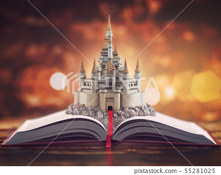 Open story book with fairy tale castle. 55281025