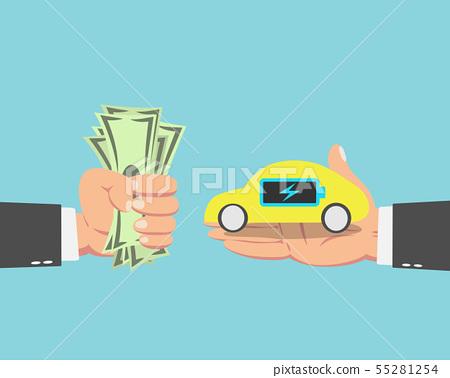 Businessman buying a Electric car 55281254
