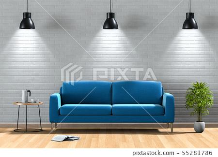 interior living lighting room with sofa. 55281786