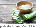Fresh Aloe Vera On the old wooden background 55281932