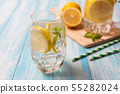 Fresh lemonade with lemon in glass on wooden 55282024