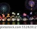 Lake Biwa Grand Fireworks Spreading on One Side 55282812