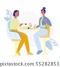 Girlfriends in Sushi Bar Flat Vector Illustration 55282853