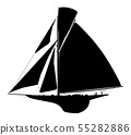 Silhouette of a sailing boat 55282886