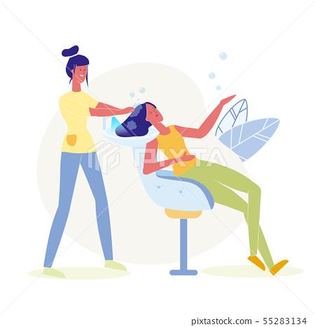 Hair Washing, Dyeing Flat Vector Illustration 55283134
